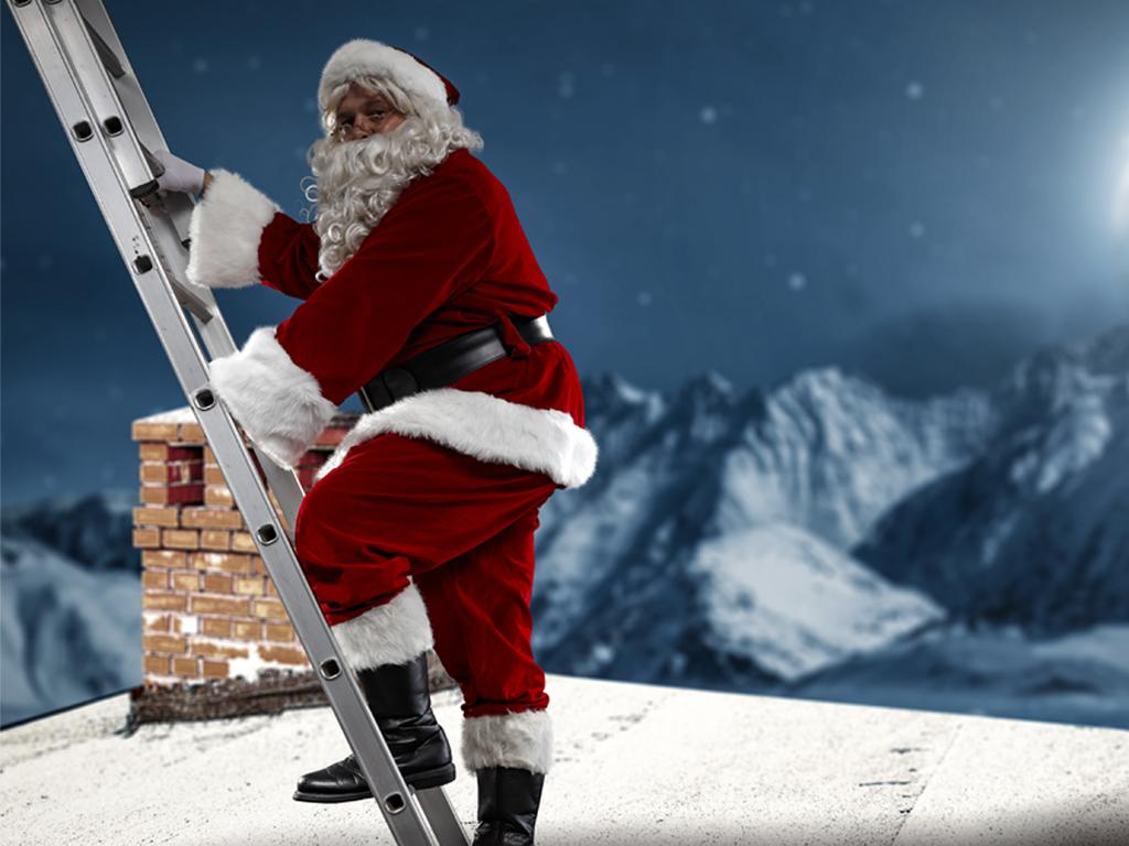 Santa climbing a ladder